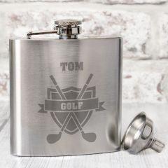Personalised Golf Design Hip Flask