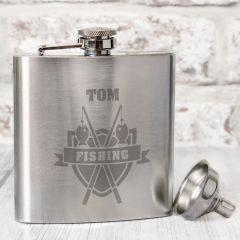 Personalised Fishing Design Hip Flask