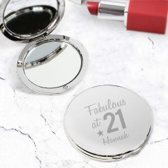 Personalised Fabulous Birthday Big Age Design Compact Mirror