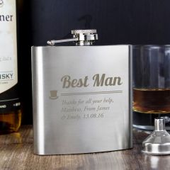 Personalised Best Man Wedding Hip Flask