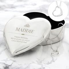 Personalised Elegant Crown Heart Trinket Box & Necklace Gift Set