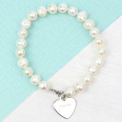 Personalised White Freshwater Pearls Name Bracelet
