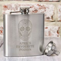 Personalised Sugar Skull Design Hip Flask