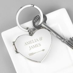 Personalised Arrow Heart Photoframe Keyring