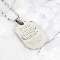 Personalised To The Moon & Back Dog Tag Necklace