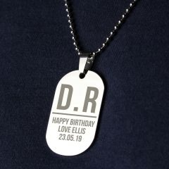 Personalised Initials Dog Tag Necklace