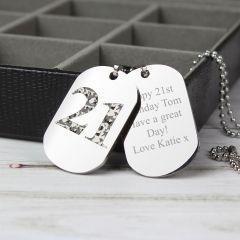 Personalised Camo Age Design Double Dog Tag Necklace