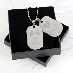 Personalised Hands and Feet New Baby Double Dog Tag Necklace