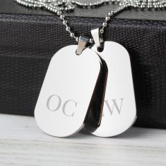 Personalised Big Initials Double Dog Tag Necklace