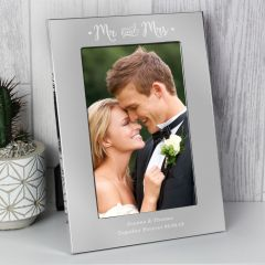 Personalised Mr and Mrs Silver Photo Frame 6x4