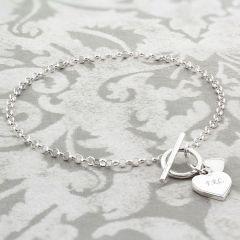 Personalised Hearts T-Bar Bracelet