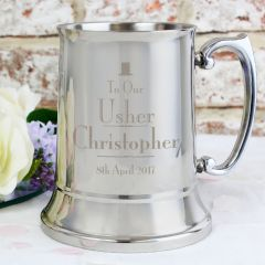 Personalised Wedding Design Usher Stainless Steel Tankard