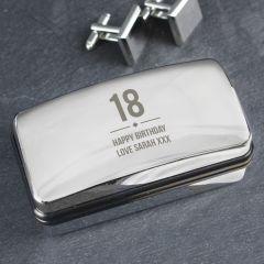 Personalised Birthday Big Age Design Cufflink Box