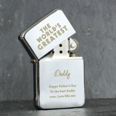 Personalised 'The World's Greatest' Silver Design Lighter