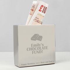 Personalised Milk Chocolate Square Design Money Box