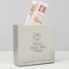 Personalised Football Square Design Money Box