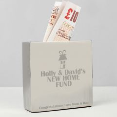 Personalised House Square Design Money Box
