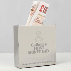 Personalised Teddy Square Design Money Box
