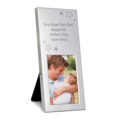 Personalised Stars Small Silver Photo Frame 3x2