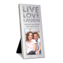 Personalised Small Live Love Laugh Silver Photo Frame 3x2