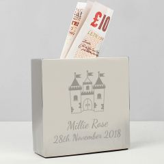 Personalised Castle Square Design Money Box