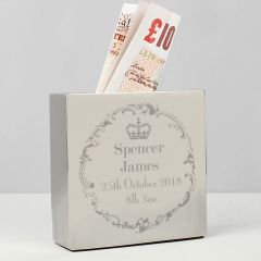 Personalised Royal Crown Square Design Money Box