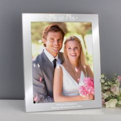 Personalised Mr and Mrs Silver Photo Frame 10x8