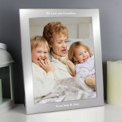Personalised Any Message Silver Photo Frame 10x8