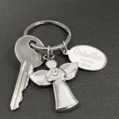 Personalised Silver Plated Swirls & Hearts Design Godmother Angel Keyring