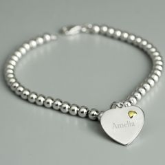 Personalised Sterling Silver & 9ct Gold Heart Bracelet