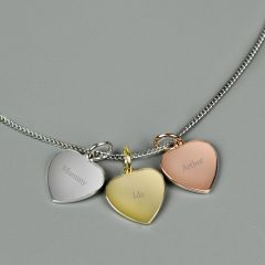 Personalised Engraved Gold, Rose Gold and Silver 3 Hearts Necklace