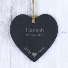 Personalised Bride Small Slate Heart Keepsake