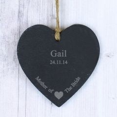Personalised Mother Of The Bride Small Slate Heart Keepsake