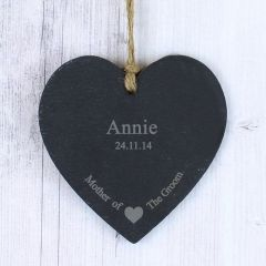Personalised Mother Of The Groom Small Slate Heart Decoration Gift