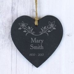 Personalised In Loving Memory Floral Small Slate Heart