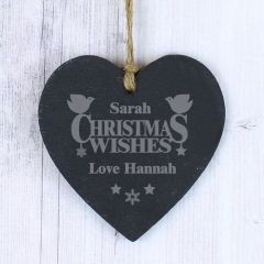 Personalised Christmas Wishes Design Small Slate Heart