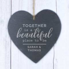 Personalised Together Design Large Slate Heart Decoration