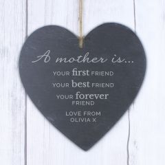 Personalised 'A Mother Is' Design Large Slate Heart Decoration