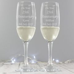 Personalised Celebration Pair of Champagne Flutes with Gift Box