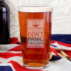 Personalised Dont Panic Design Pint Glass