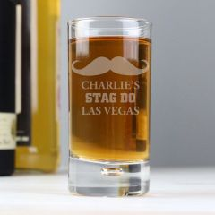 Personalised Moustache Bubble Design Shot Glass