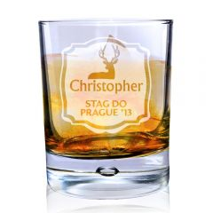 Personalised Stag Tumbler Bubble Bottom Glass