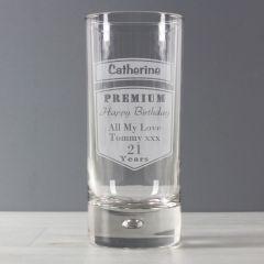 Personalised Premium Hi Ball Bubble Bottom Glass