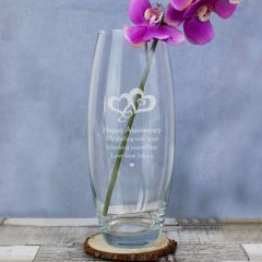 Personalised Love Hearts Glass Bullet Vase