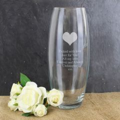 Personalised Heart Design Glass Bullet Vase