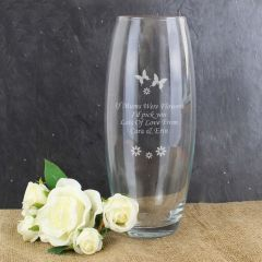 Personalised Butterflies and Flowers Glass Bullet Vase