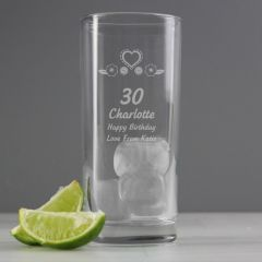 Personalised Birthday Design Craft Hi Ball Glass