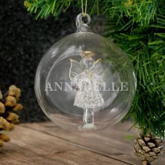 Personalised Name Only Angel Glass Bauble