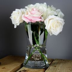 Personalised I'd Pick You Glass Vase