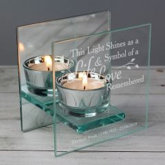 Personalised Life & Love Mirrored Glass Tea Light Candle Holder Gift
